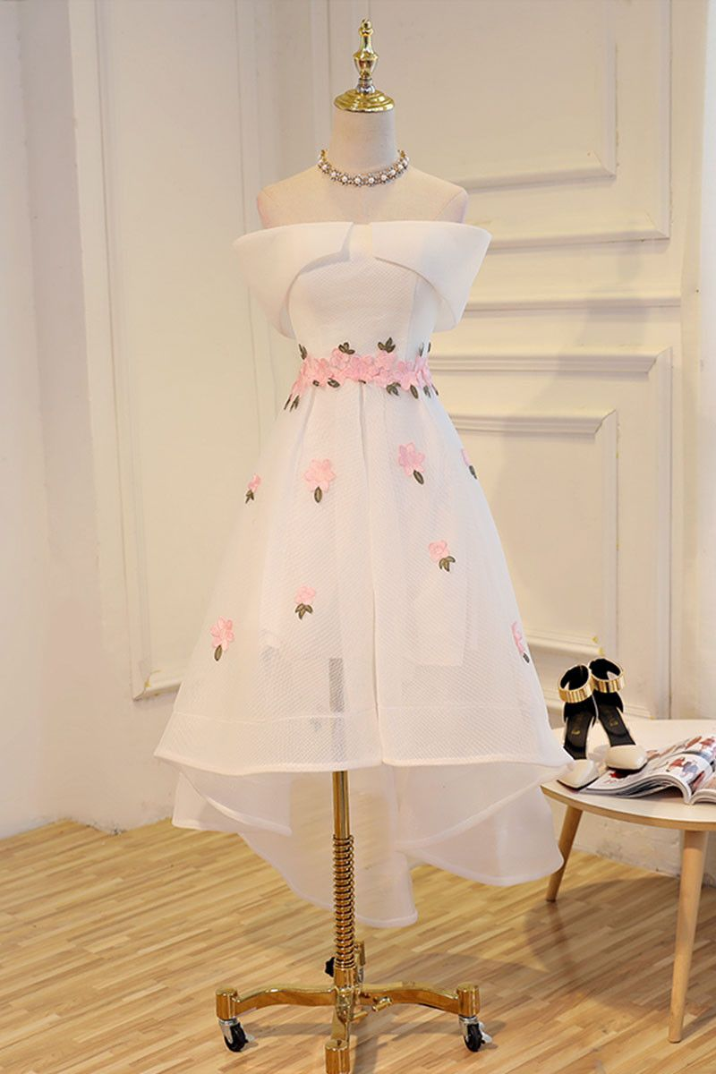 White applique high low prom dress white evening dress high low