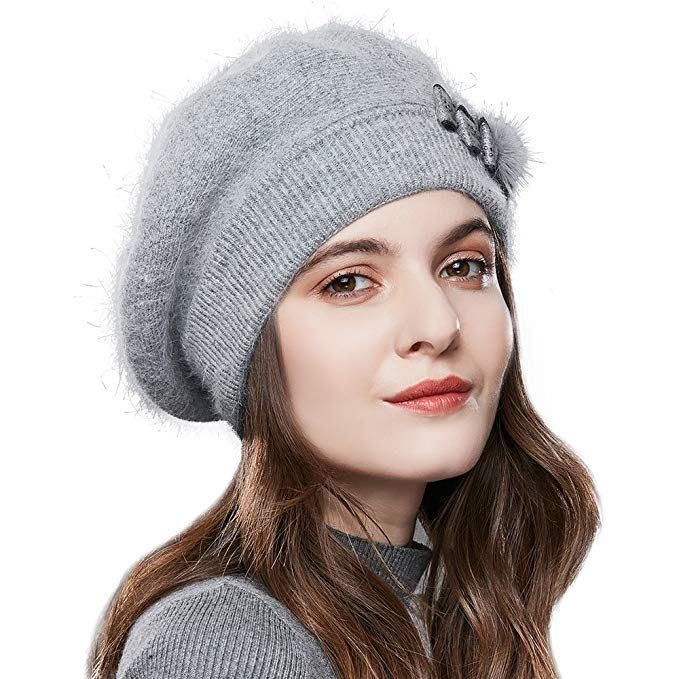 848267f093e SOMALER Winter French Beret Women 100% Angora Wool Classic Beret Beanie  Review