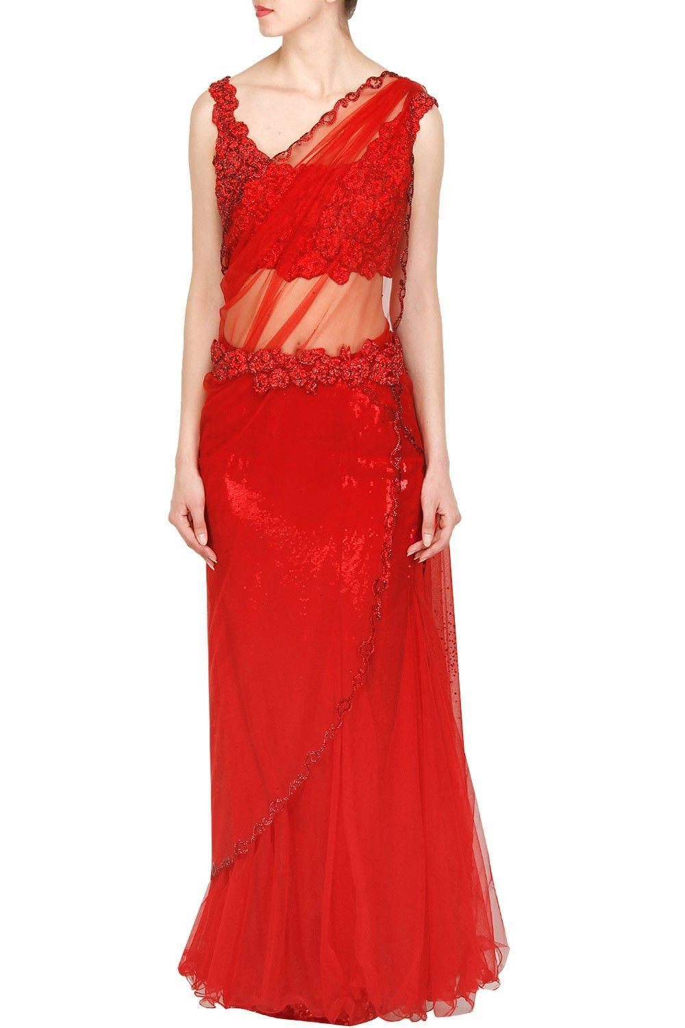 Red color saree gown | Red color, Saree and Gowns