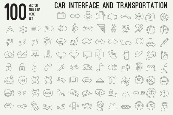 100 thin line car interface icons by iconstock on Creative Market
