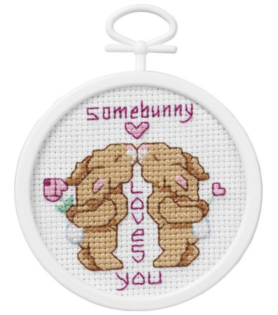 Janlynn Mini Counted Cross Stitch Kit Some Bunny Loves You