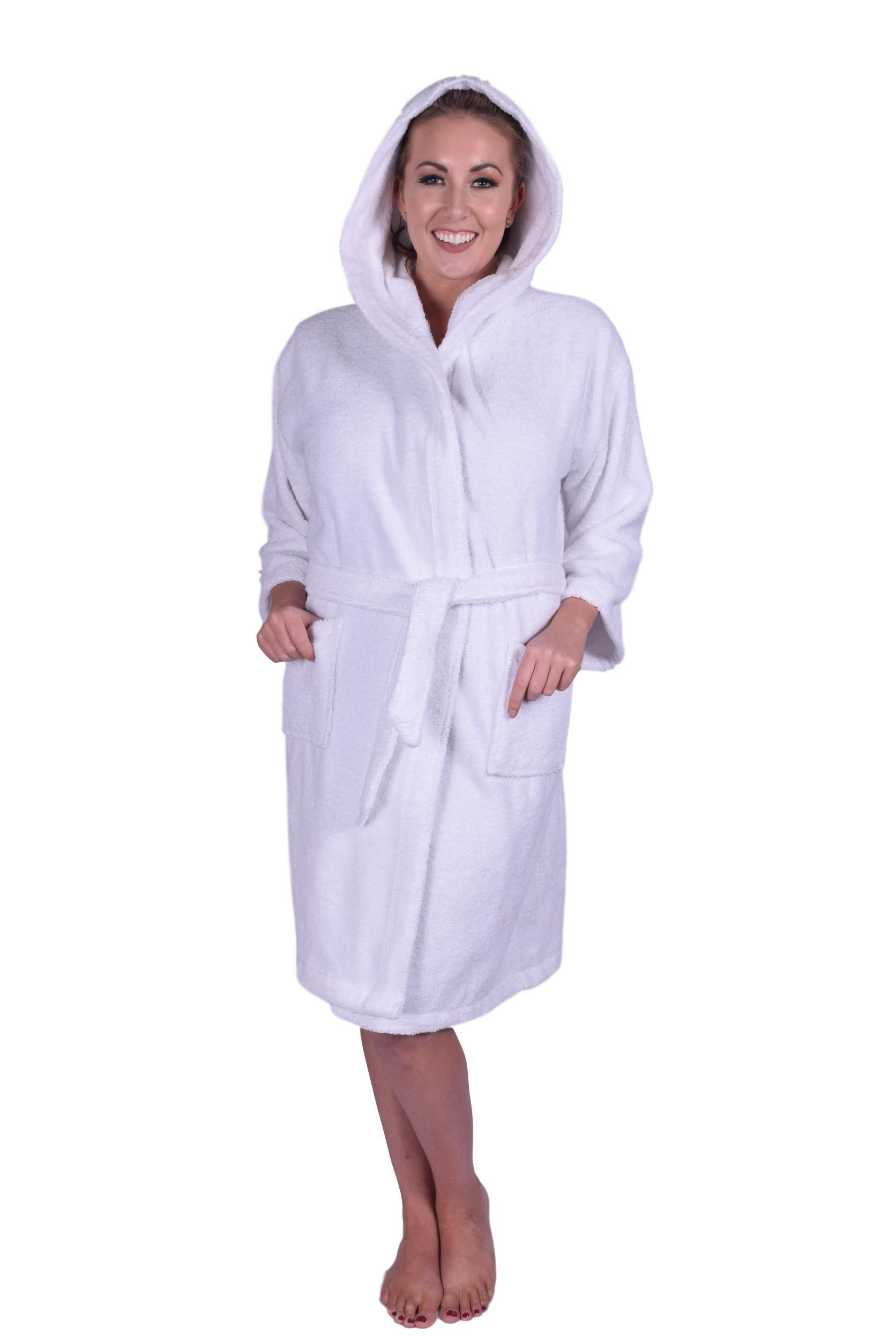 b1e46fbbad Puffy Cotton Teen   Petite Unisex Hoodie Bath Robe 100% Natural Soft Cotton  - White