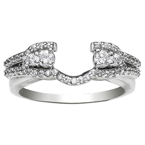 3 8 CT T W Round Diamond Ring Wrap in 14 Karat White Gold This