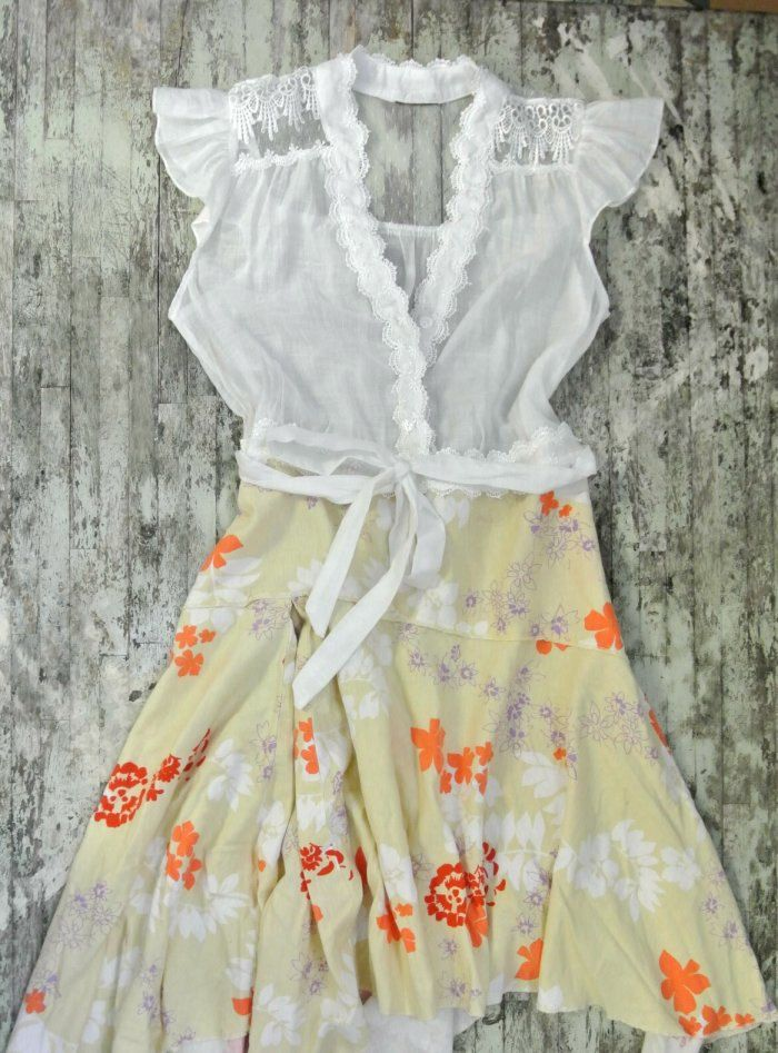 Country shabby chic dress, cottage chic autumn clothing