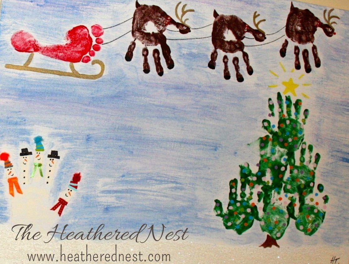 Hand print christmas scene facebookheatherednest