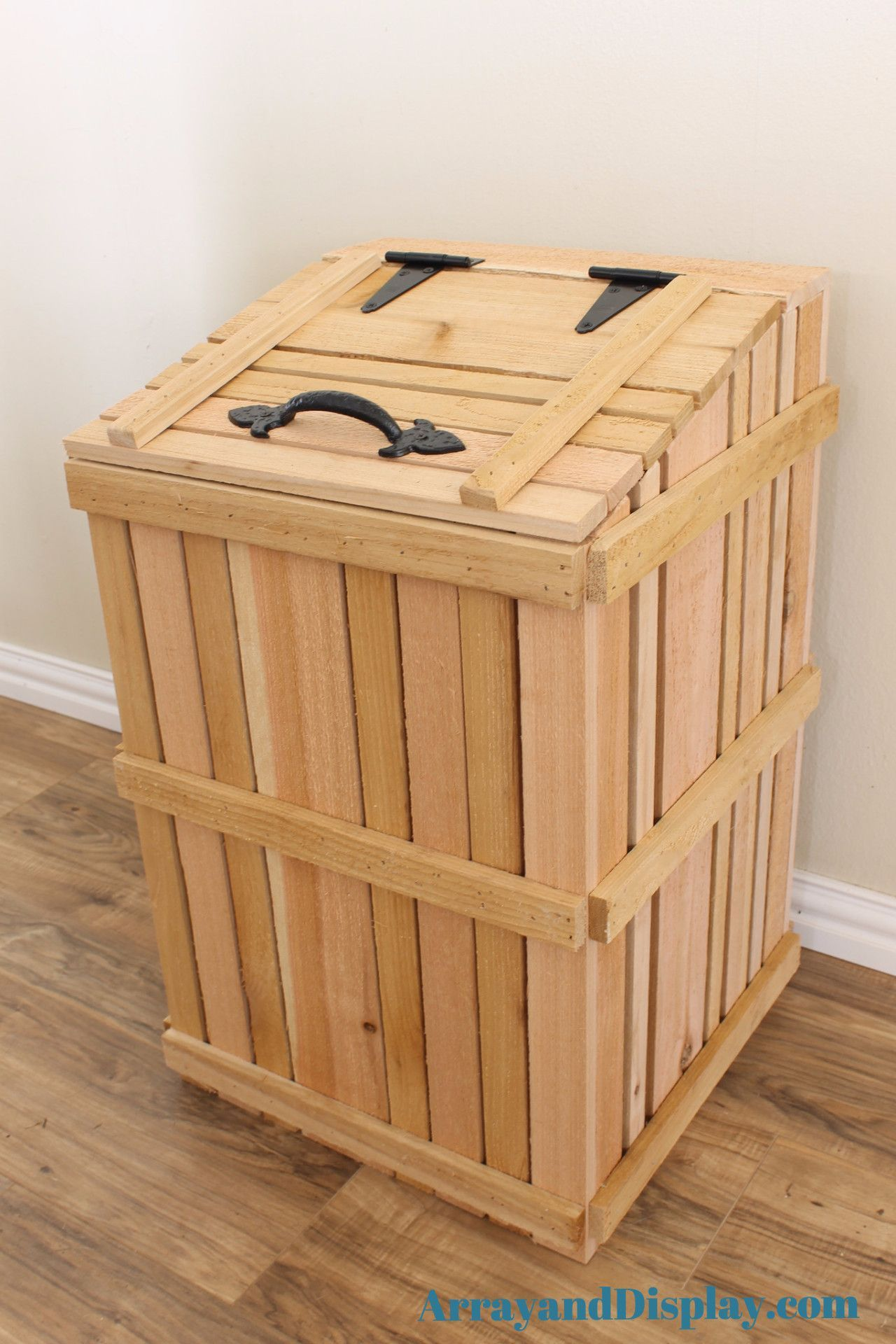 Handcrafted Rustic Kitchen Trash Can Cover Made Of Hand Split Cedar With Trashcan Included