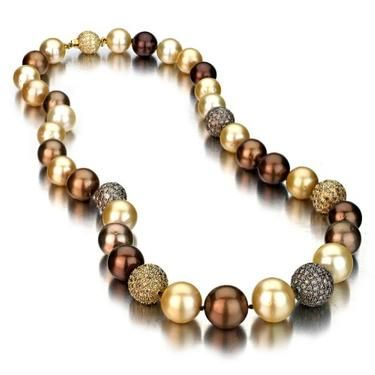 Chocolate & Golden South Sea Pearl Necklace w. Pave Diamonds - $9,775.00.