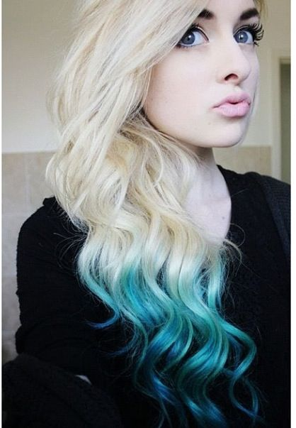 ombre teal hair pretty pastels dip dye hair blue. Black Bedroom Furniture Sets. Home Design Ideas