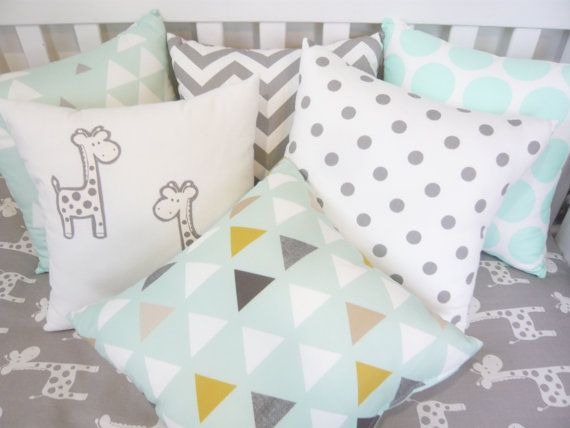 Mint and grey cushion options