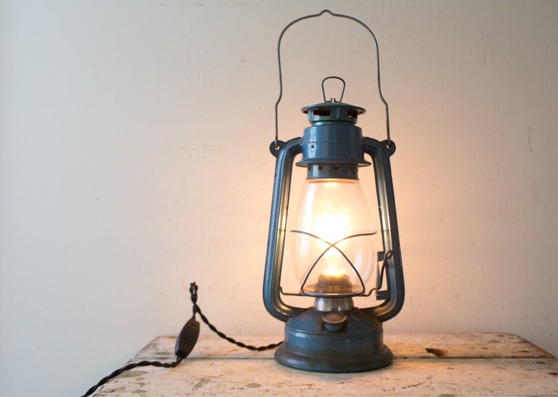 Vintage Blue Lantern Lamp Converted Plugin Desk Lamp Industrial Lighting Vintage Lighting Vintage Light Bulbs Vintage Lanterns Lamp