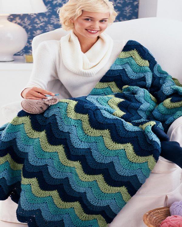 Free Ocean Waves Throw Crochet Pattern from RedHeart.com | Crochet ...