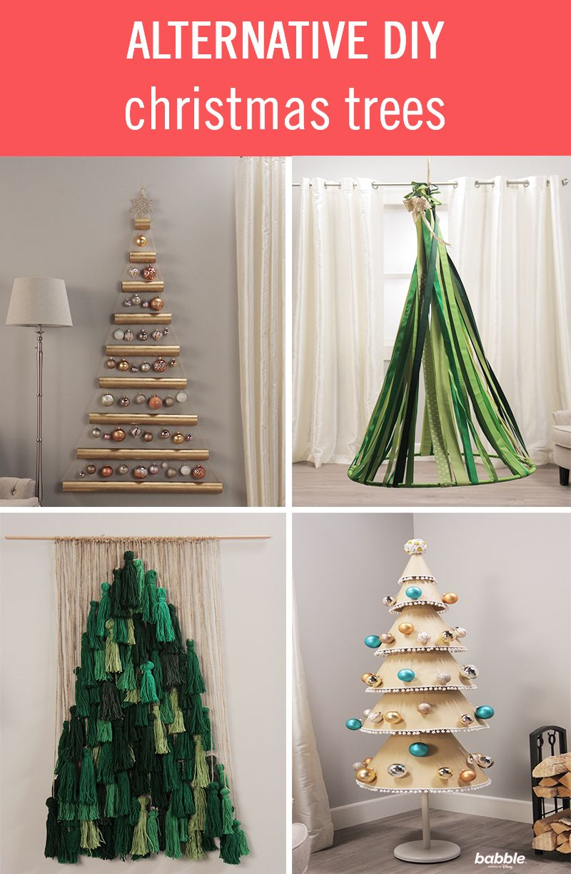 Get In The Holiday Spirit With These Alternative Diy Christmas Trees From Ribbons Alternative Christmas Tree Diy Christmas Tree Alternative Christmas Tree Diy