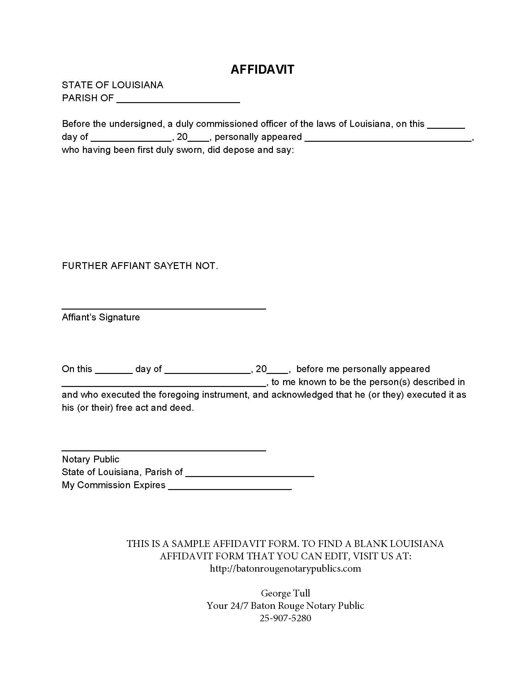 Blank Louisiana Affidavit – Sample Notary Statements