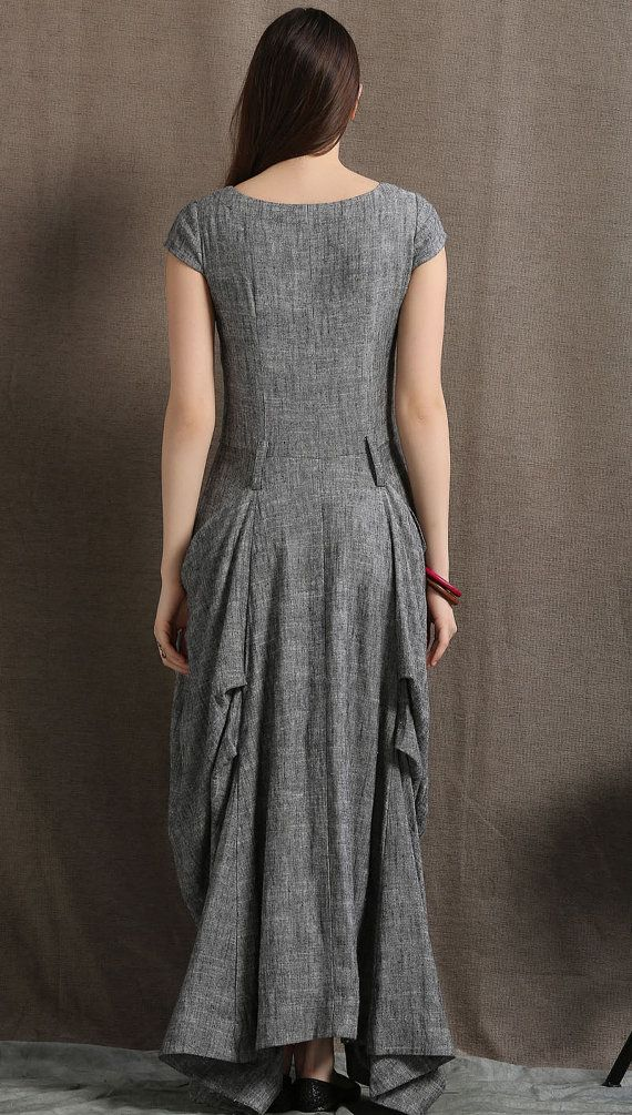 53ab841f6d3 Gray Linen Dress Long Maxi Boho Style Short Sleeved by YL1dress
