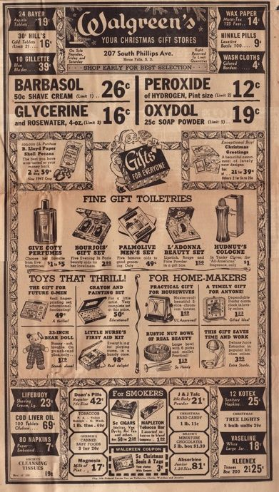 A Walgreens ad from 1941.  Check out the prices...
