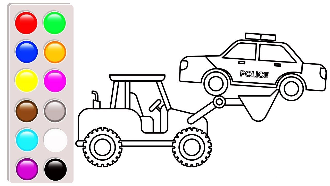 Police Car Carrier Truck Coloring Pages Excavator Coloring Book
