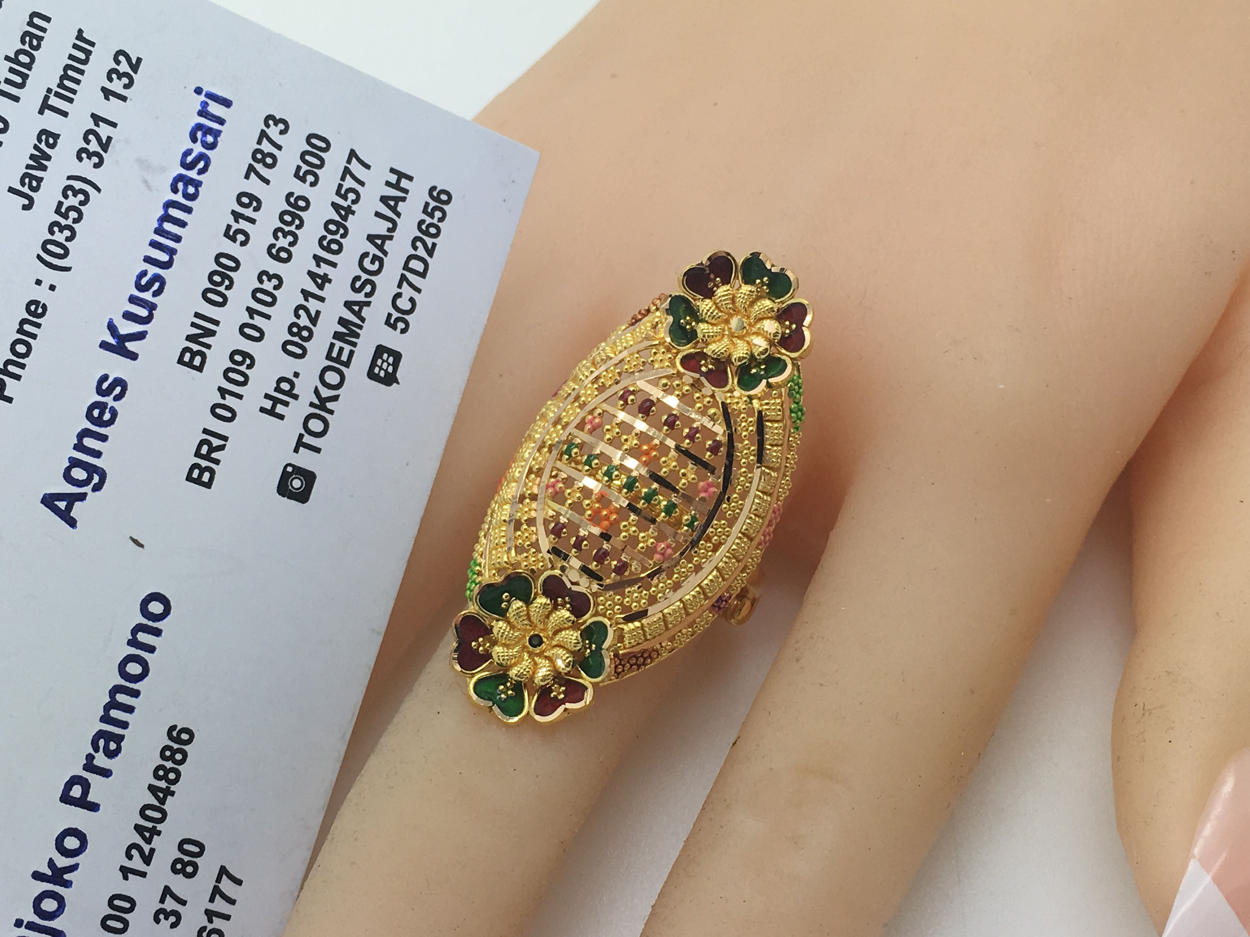 22k 91 6 Gold Dubai India Twin Flower Ring Size Adjustable Beautiful Gold Rings Online Gold Jewellery Gold Pearl Jewelry