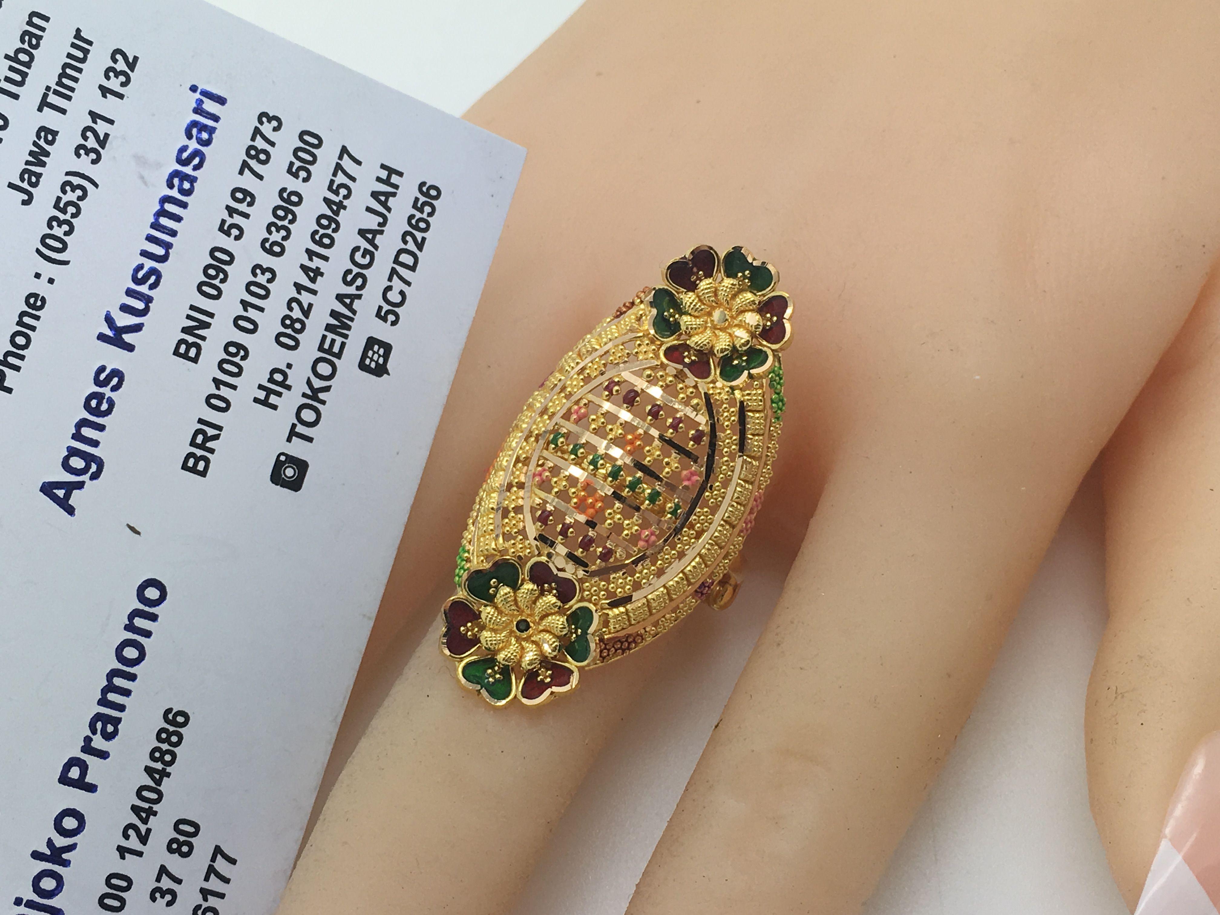 22k 91 6 Gold Dubai India Twin Flower Ring Size