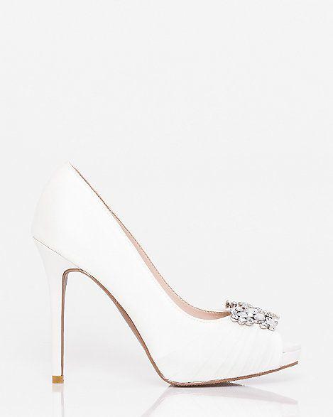Jewel+Embellished+Satin+Peep+Toe+Pump