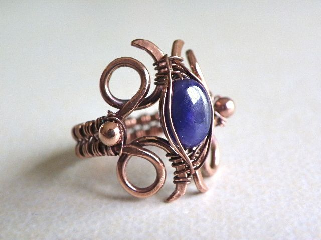Ring made of copper with sapphire