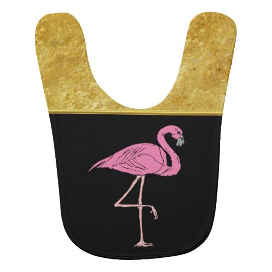 Pink Flamingos standing with gold foil texture 3 Bib