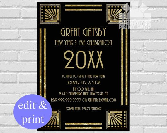 New Years Eve Party Invitation 1920 39 S Vintage Great Gatsby Instant Download Edit With Ado New Years Eve Party New Year S Eve Celebrations New Years Eve