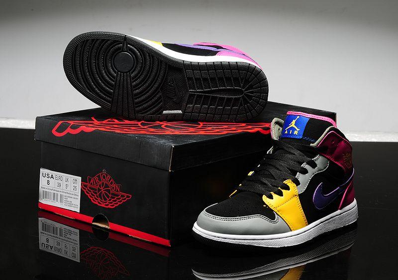 504ae661ae36b6 Air Jordan 1 Leather Shoes Black/Yellow/Natural Grey/Pink/White ...