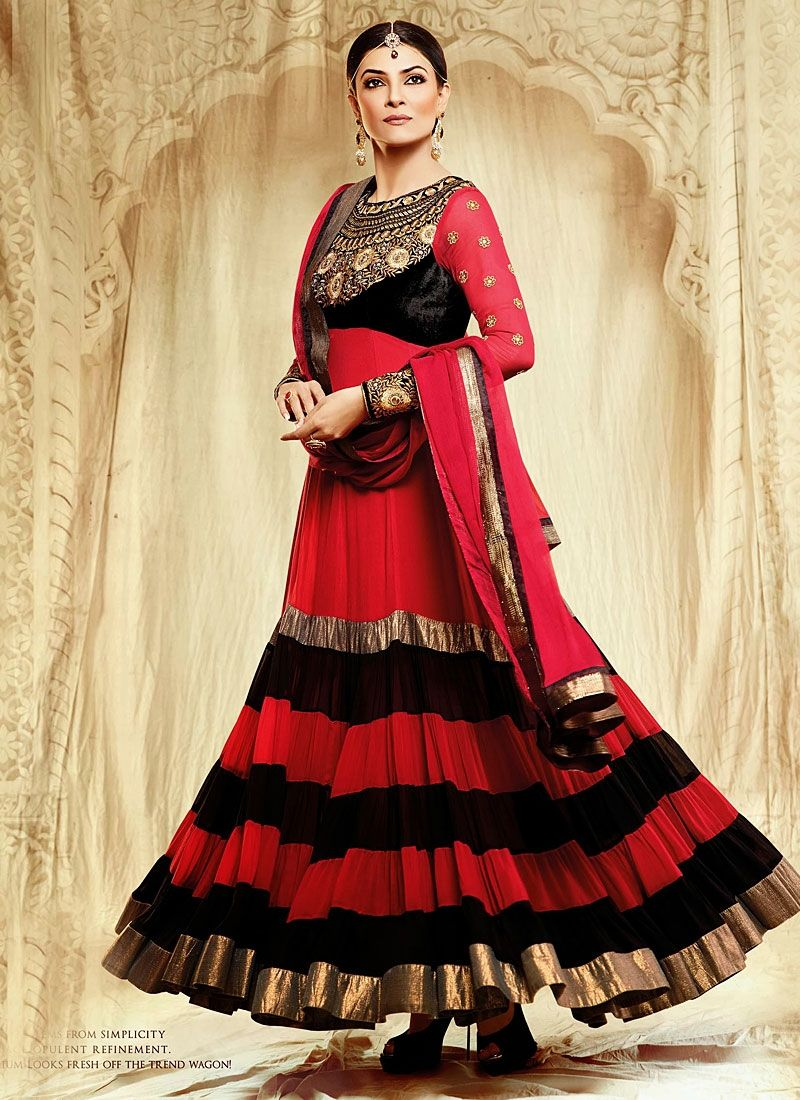 Susmita sen red and black faux georgette anarkali suit desi girl