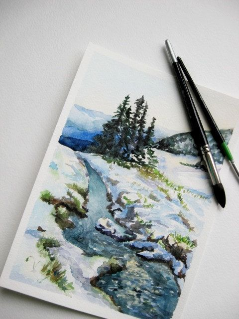 Original Watercolor Landscape Winter River By Artannastore On Etsy With Images Watercolor Landscape Paintings Winter Wall Art Watercolor Landscape