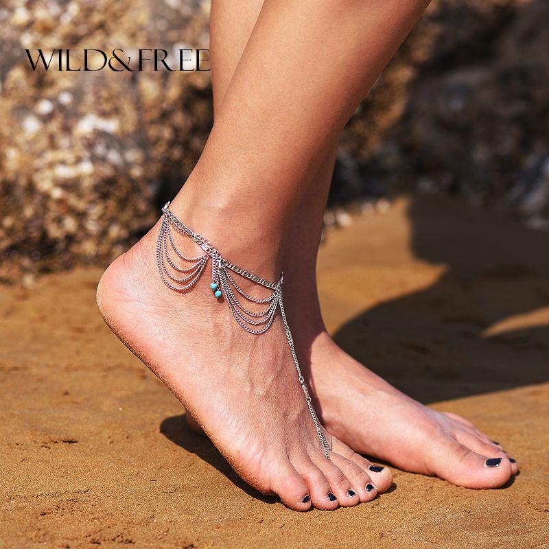 Pair Women Beach Barefoot Sandal Foot Tassel Jewelry Anklet Multilayer Blue Stone Anklet Boho