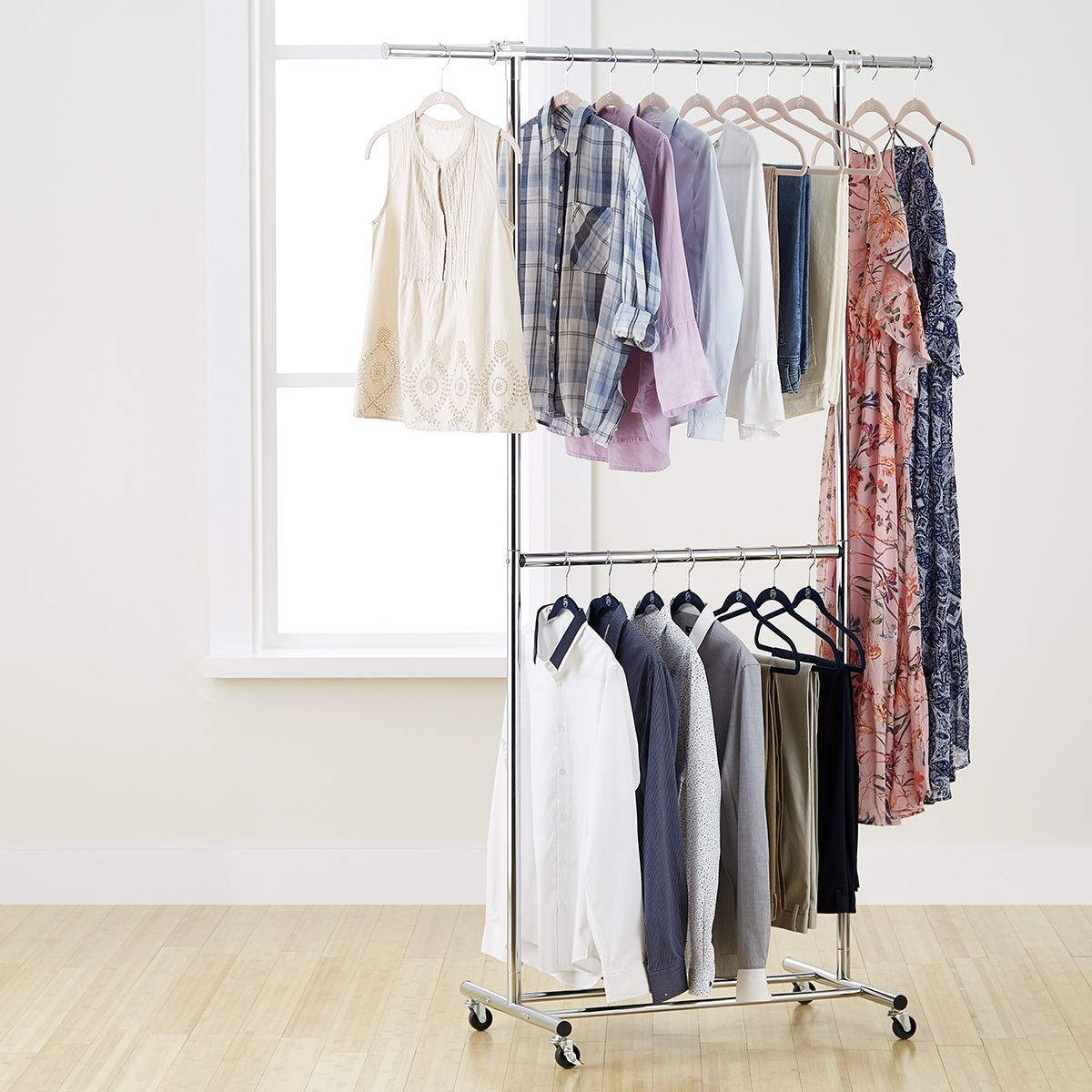 Made To Our Specifications Our Chrome Metal Double Hang Clothes Rack Creates Two Levels Of Short Hanging Cloth Clothing Rack Garment Racks Clothes Hanger Rack