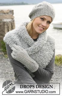 """DROPS 102-3 - A set of: DROPS beret and gloves with lace pattern in """"Alpaca"""", and scarf in """"Puddel"""". - Free pattern by DROPS Design"""