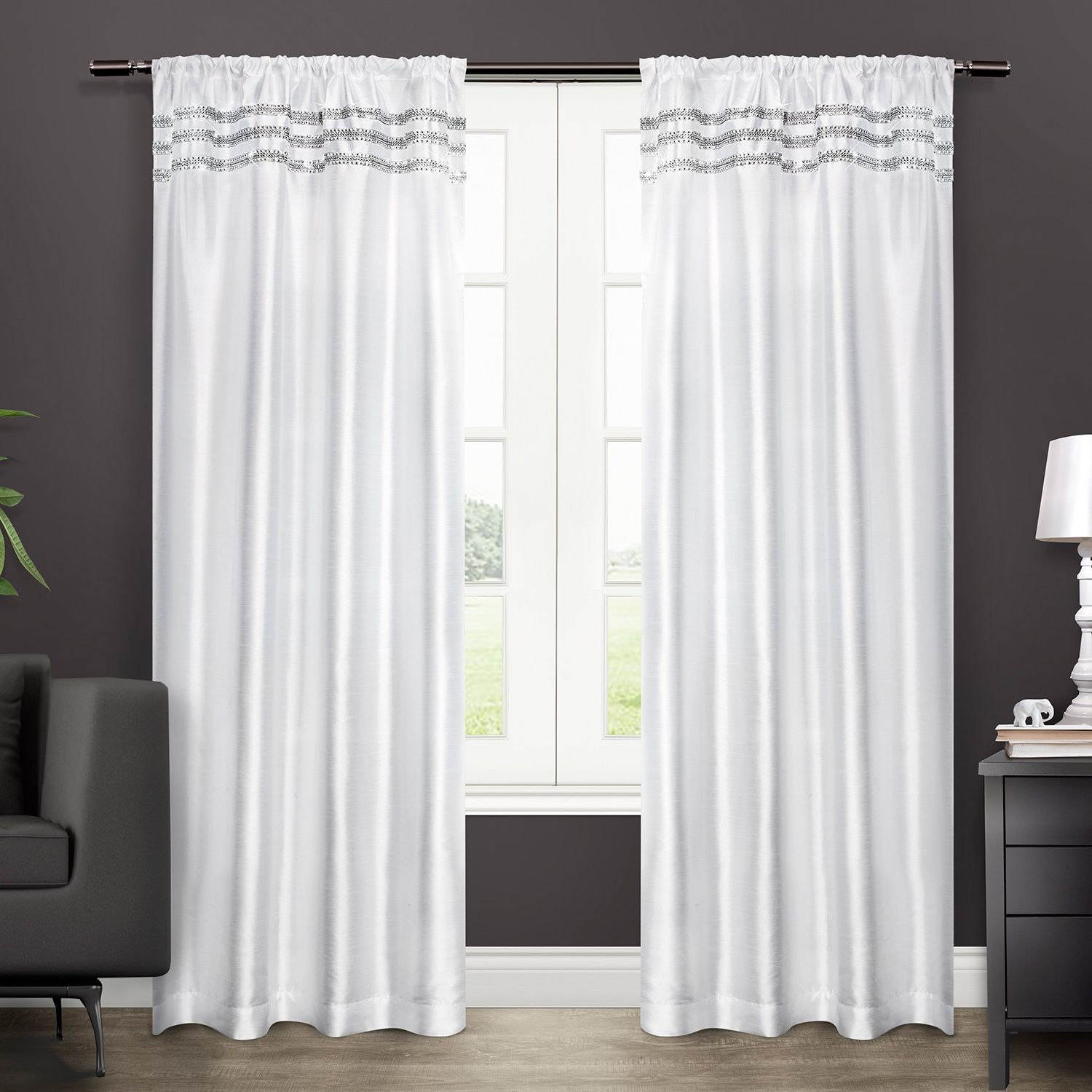 Ati Home Bling Rod Pocket 96 Inch Curtain Panel Pair Bling Winter
