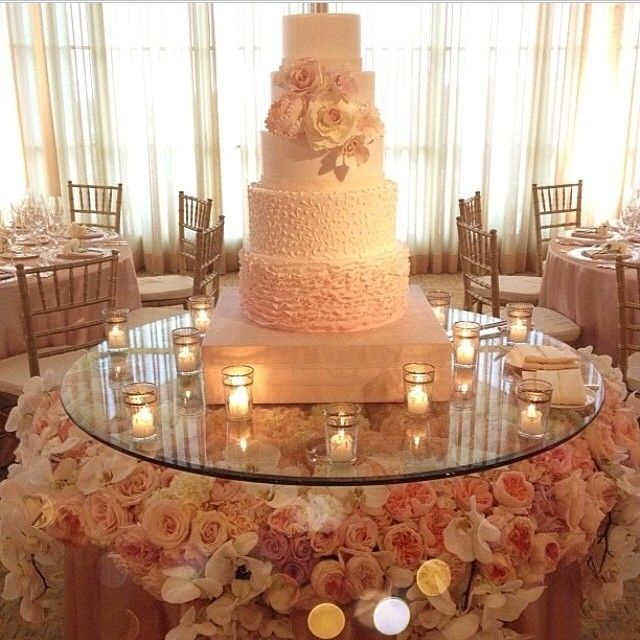 Round Cake Table With Glass Top With Pale Pink And White Roses And