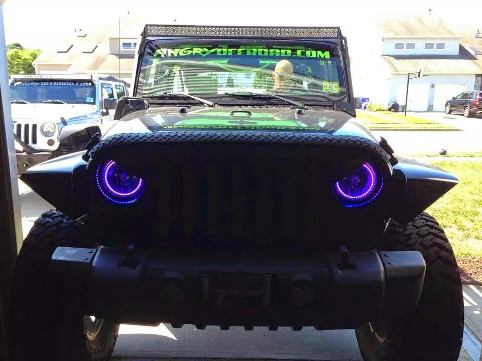 Angry Eyes And Purple Halos Awesome Jeep Grill Angry Eyes Jeep