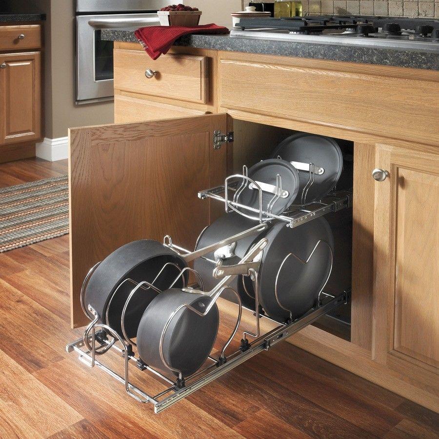 Rev A Shelf 2 Tier Metal Pull Out Cabinet Pot Pan Organizer