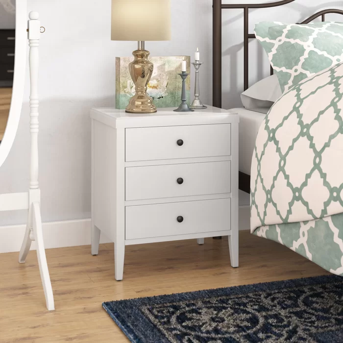 Rushville 3 Drawer Solid Wood Nightstand Bedroom Night Stands White Nightstand Drawer Nightstand