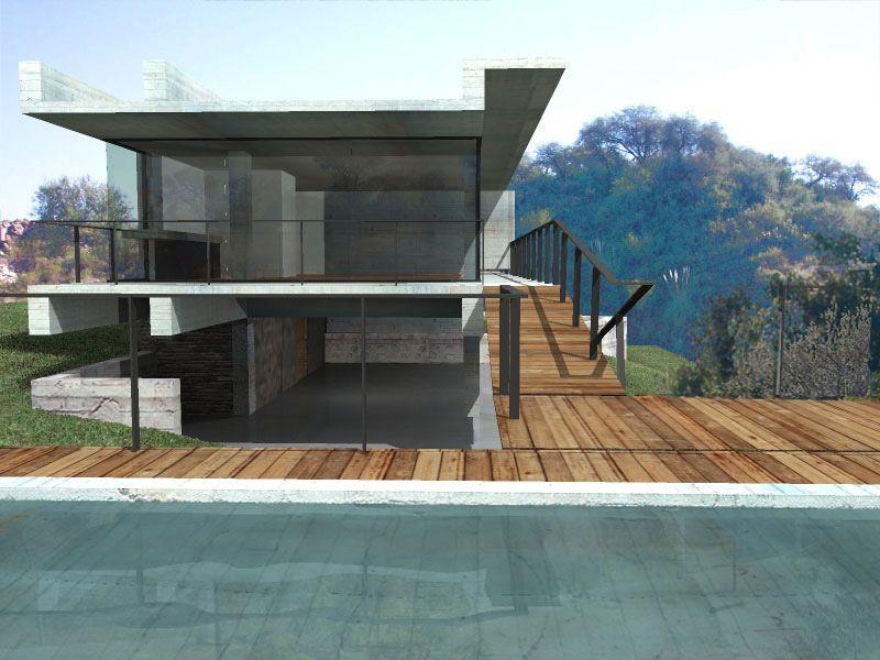 Ricardo Sargiotti con x-arquitectos anteproyecto casa CD / 2006 vista desde piscina