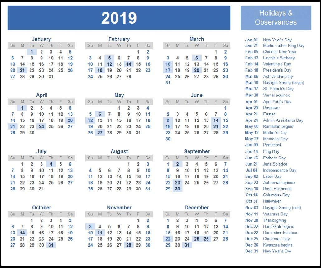 2019 Calendar Wallpaper One Page Calendar Calendar 2019