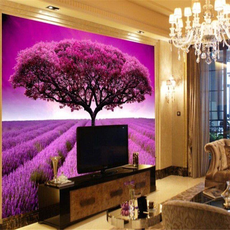 beibehang Custom 3D Photo Wallpaper Lavender Garden 3d Wall paper Living Room So...#beibehang #custom #garden #lavender #living #paper #photo #room #wall #wallpaper