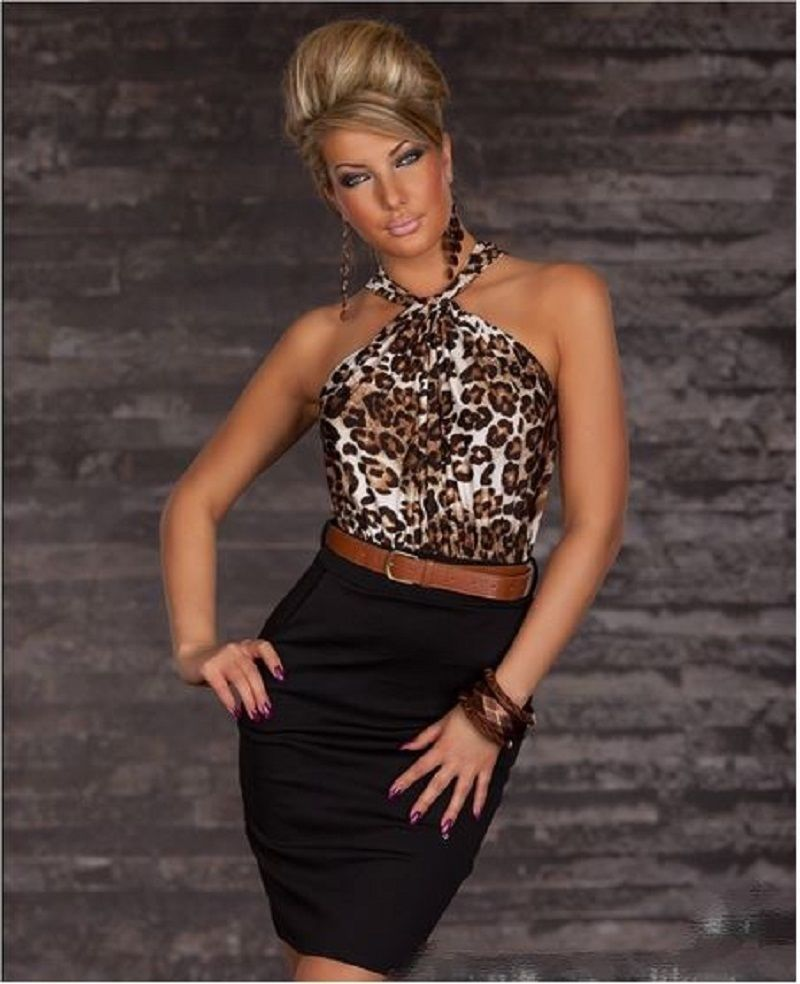 SEXY WOMENS LEO LEOPARD COCKTAIL BUSINESS MINI DRESS WITH SATIN HALTERNECK  TOP 8  41a582b46
