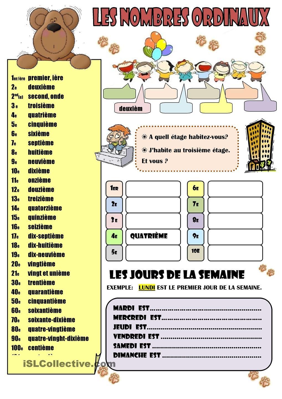 Connu Les nombres ordinaux | En français, s'il vous plaît. | Pinterest  QR56