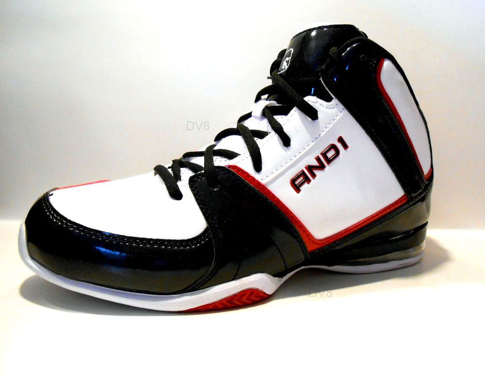 AND1 Mens PLAYMAKER Basketball Shoes Athletic Sneakers Black/White/Red New  wBox