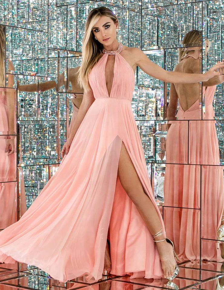 Belissimo Vestido De Festa Rodado Salmao Idrissi Dress Alugue