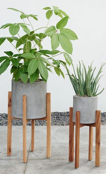 Modern Wood Leg Planters