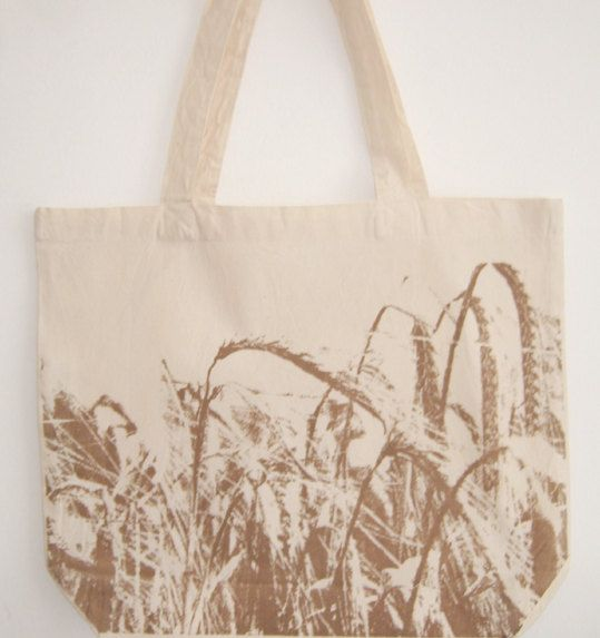 Crop field printed organic natural cotton tote by scenerylondon