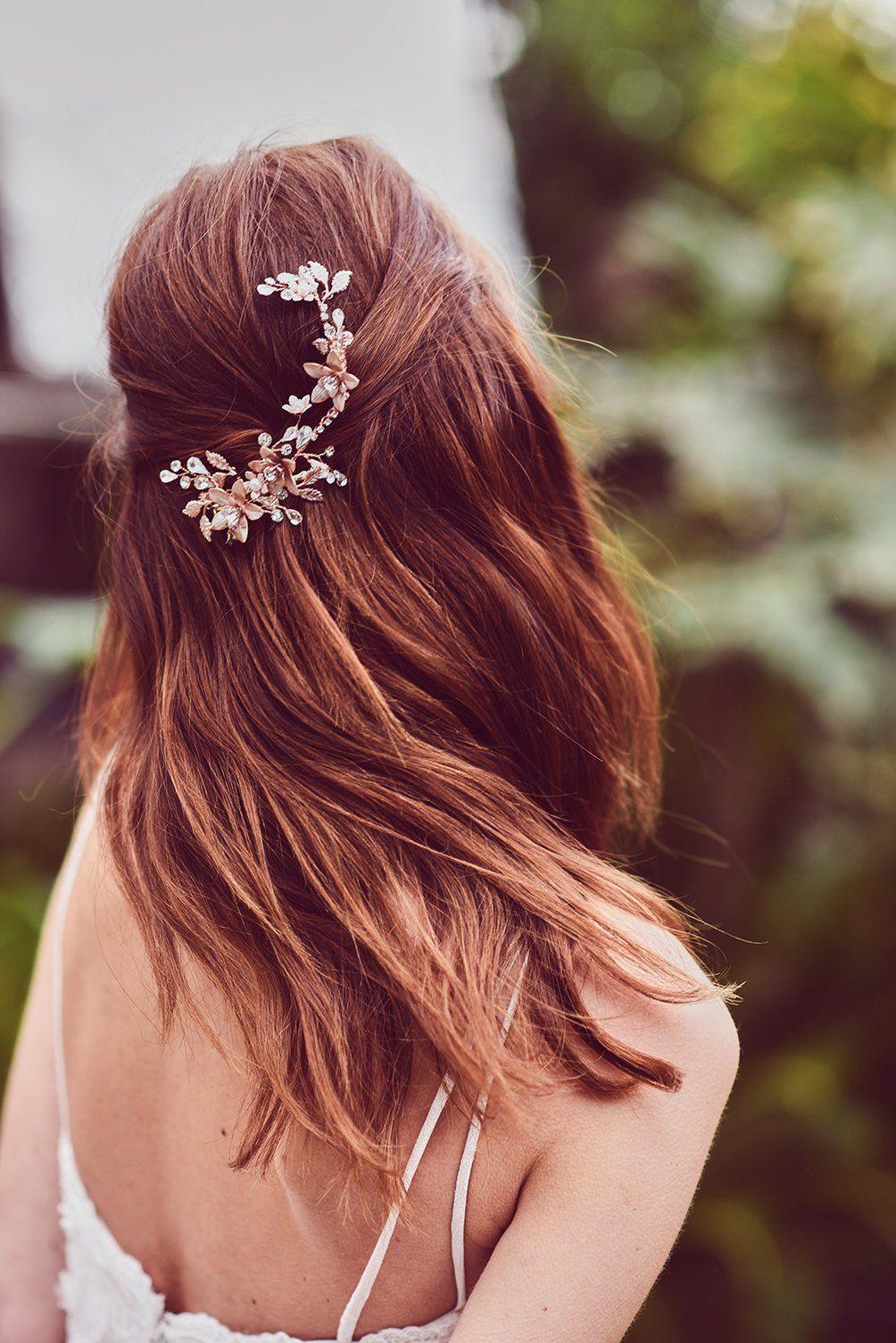 this rose gold flower hair clip is a beautiful bridal hair
