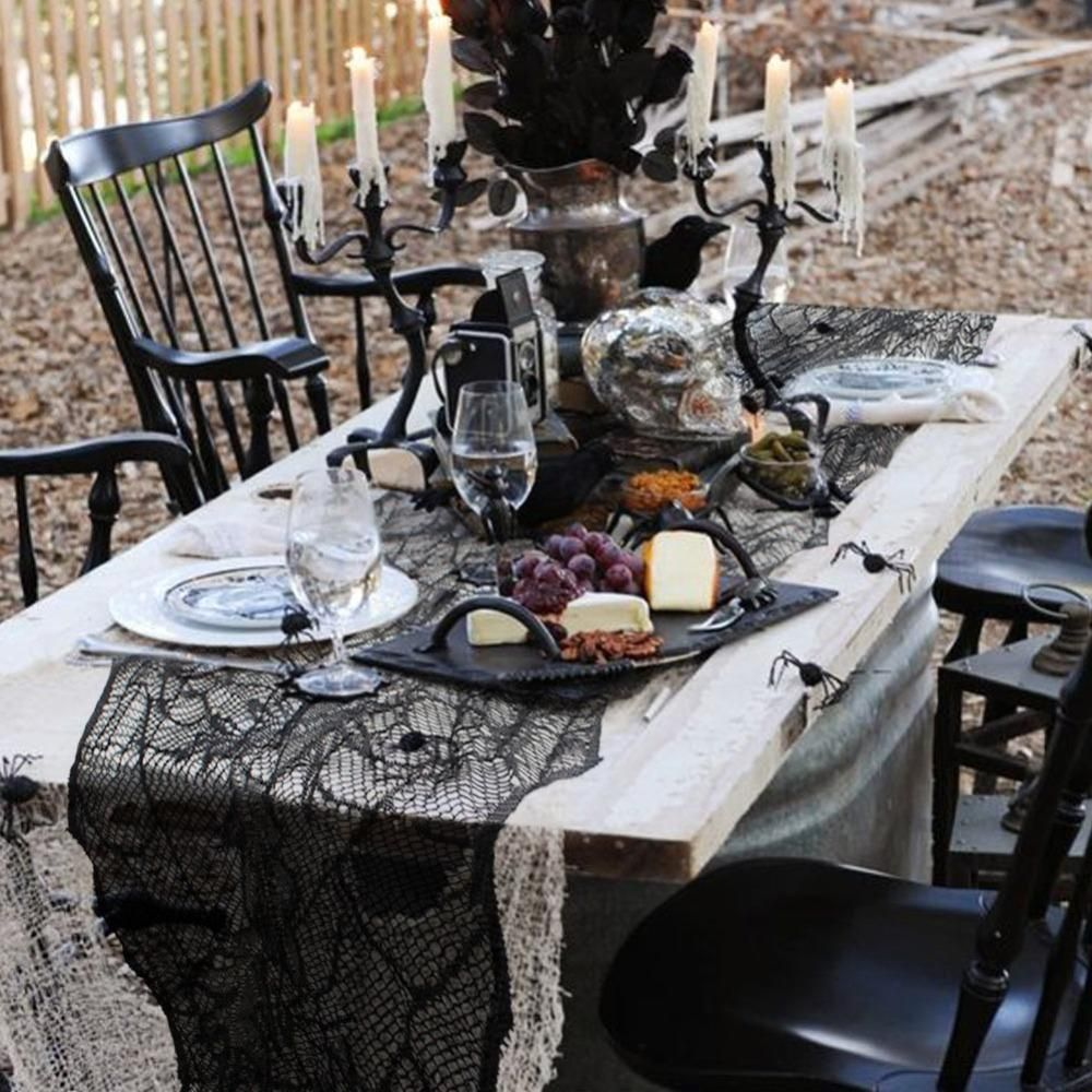 Black Web Lace Table Runner Everything Halloween Pinterest - Spooky Halloween Decorations