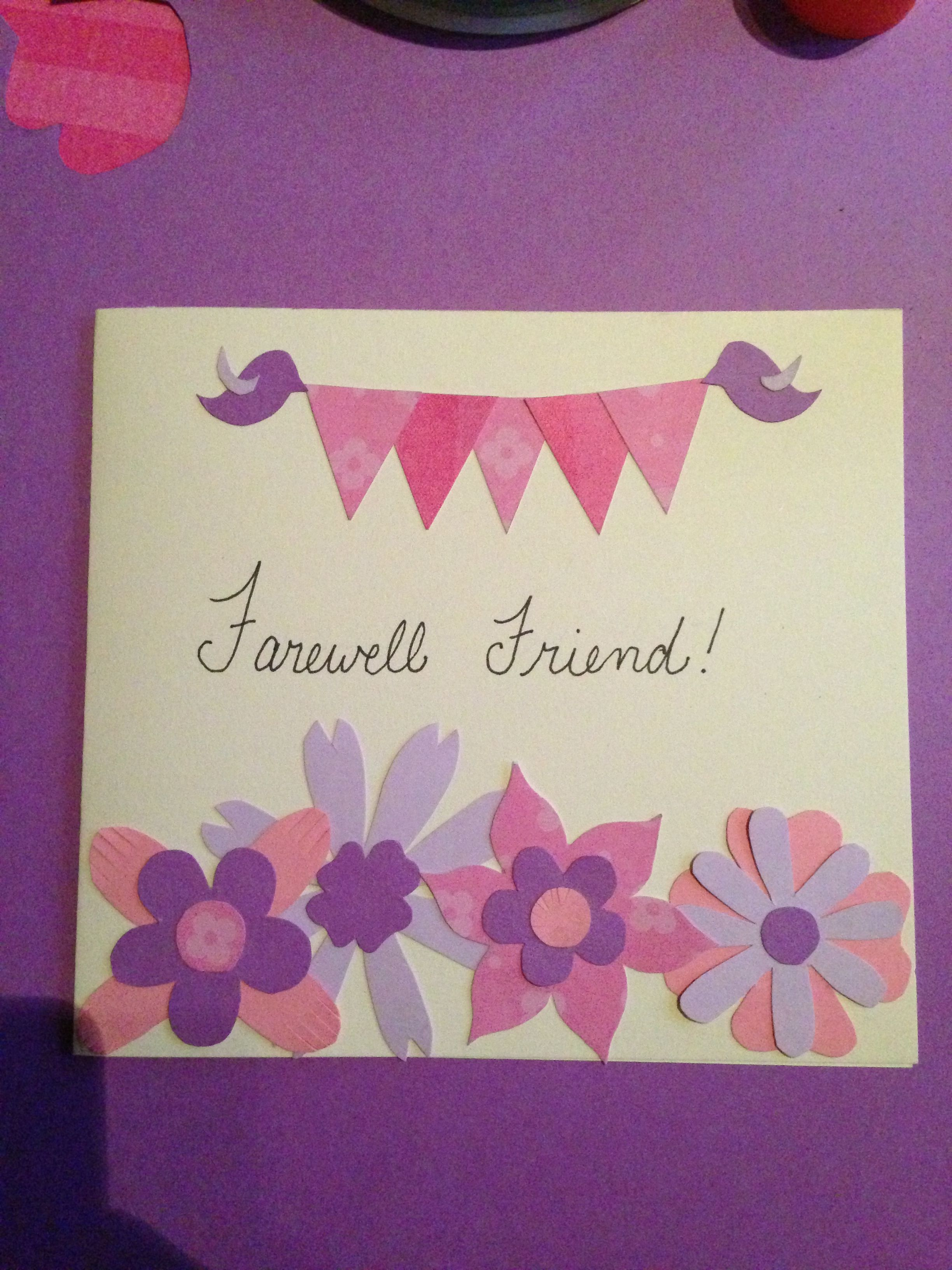Diy Farewell Card Made From Construction Paper With Images