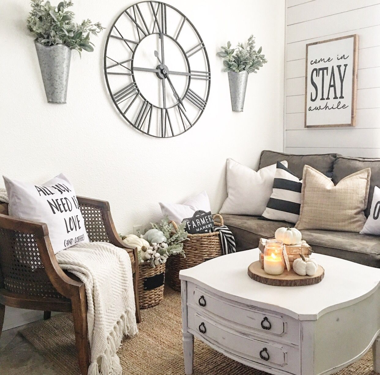 Elegant Office Furniture Rustic Elegant Living Room: Neutral Farmhouse Style -IG @nellyfriedel